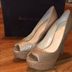 Enzo Angiolini gold sparky high heels size 8